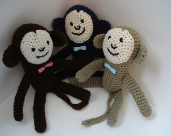 Crochet Soft Stuffed Little Small Monkey Chimp Happy Animal Toy Doll Jungle Creature with Gingham or Dots Bow Brown and Blue