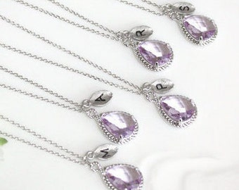 Bridesmaid gifts - Set of 4, 5, 6 - Leaf initial, Lavender crystal drop necklace, Gorgeous Drop ,stone in twisted bezel, Initial necklace
