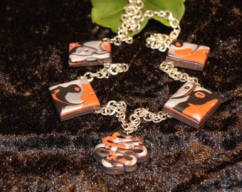 Reddish brown polymer Clay necklace
