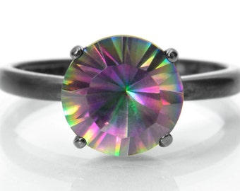 """Silver Ring, Rainbow Quartz in a Deep """"V"""" Blackened Sterling Silver Setting, Engagement Ring, Valentine's Day Gift, Abish Jewelry Works"""
