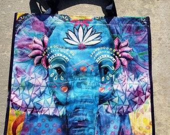 Elephant reusable tote bag
