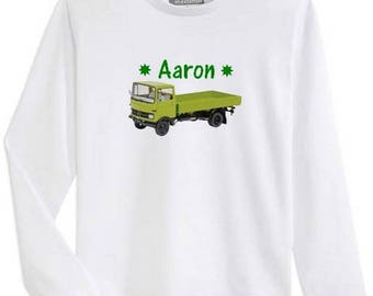 T-shirt boy long sleeve green truck personalized with name