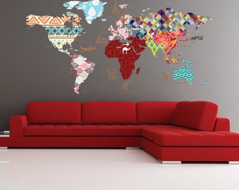 Animals world map decal clear vinyl decal kids room decals cultural world map decal pattern map wall decal clear vinyl decal nursery room decals world map mural whole wide world decal gumiabroncs Image collections