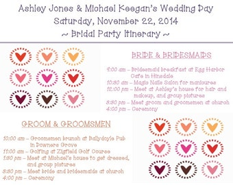 "PRINTABLE Wedding Weekend Itinerary HEARTS - custom printable 8.5x11"""