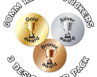Gold, Silver & Bronze - 60mm Children Reward Stickers - For School Teachers, Sports Day and Competitions