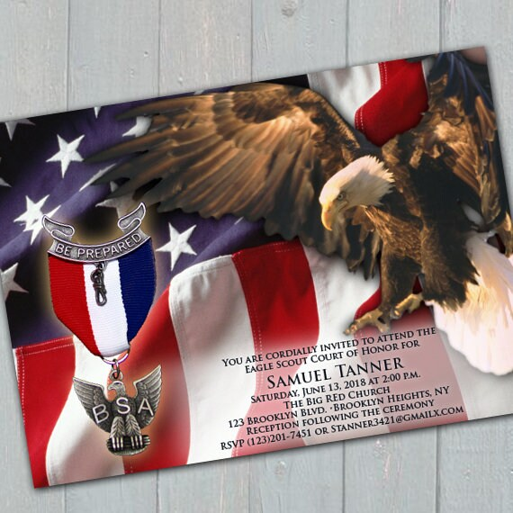 eagle scout court of honor invitation, Boy Scouts of America invitation, American flag Eagle Scout invitation, Court of Honor, BSA, IN651