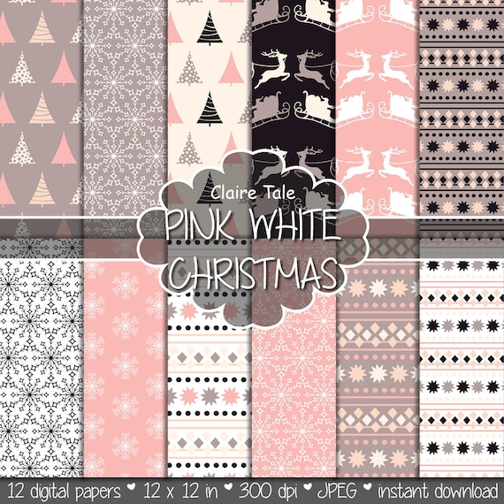 "Christmas digital paper: ""PINK WHITE CHRISTMAS"" christmas backgrounds with deers, santa, snowflakes, christmas trees"