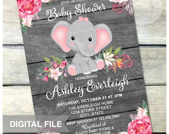 "Elephant Baby Shower Invitation - PINK - Girl Jungle Floral Safari Baby Shower - Rustic WoodStyle - DIGITAL Printable Invite - 5"" x 7"""