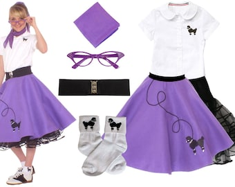 7 pc SMALL Child (4-6) 50's Poodle Skirt OUTFIT