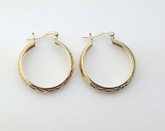 Vintage Sterling Silver Gold Tone Diamond Cut Textured Retro Hoop Earrings