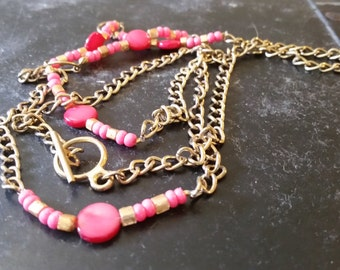Pink and Gold Long Necklace