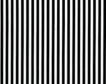 "Michael Miller Fabrics, Clown Stripe, Black and White Fabric, 1/4"" Stripes, CS3584-WHIT-D"