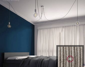 Octopus-3 suspension with 3 arms of 2 meters of natural linen cable - Metal socket with screw E27 sockets - multiple lighting