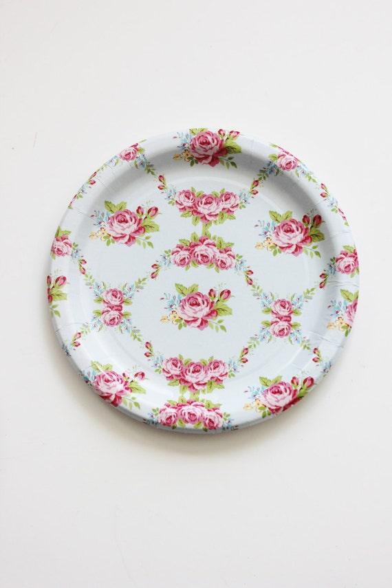 & 30 FLORAL TEA PARTY Paper Plates Parisian Vintage Style Shabby