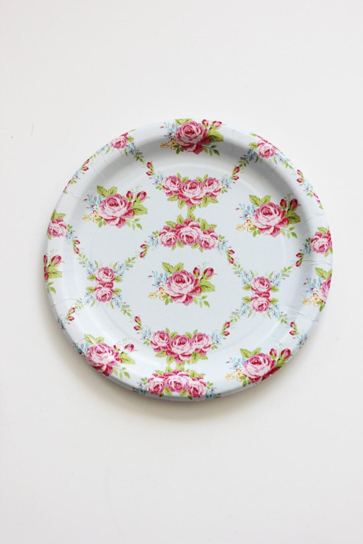 🔎zoom & 30 FLORAL TEA PARTY Paper Plates Parisian Vintage Style Shabby