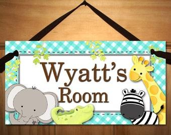 A to Z Jungle Alphabet Animals Babies Bedroom Nursery Kids DOOR Sign Wall Art Ds0335