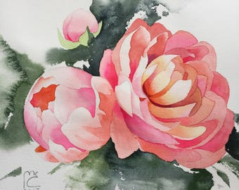 ORIGINAL. Watercolor. Peonies. Flowers.