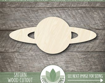 Saturn Wood Shape, Wooden Saturn Cutout, Wood Planet Shapes, Unfinished Wood For DIY Projects, Many Size Options, Planet Party Decorations