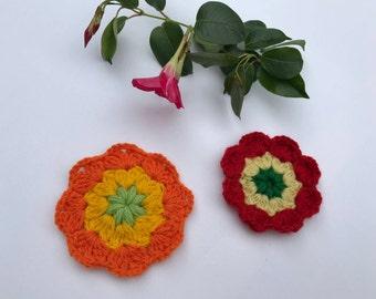 Crochet flowers, crochet appliqués, flower appliqués, embellishments, set of 2, stocking stuffer, colourful flowers