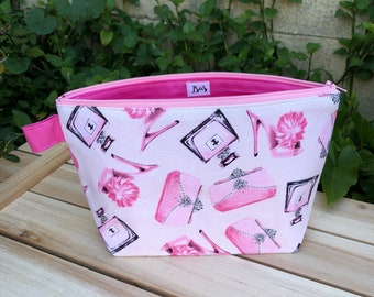 Pink and Glamor, Make-up bag, Zipper Pouch, Cosmetic Bag, Travel Case- Pink