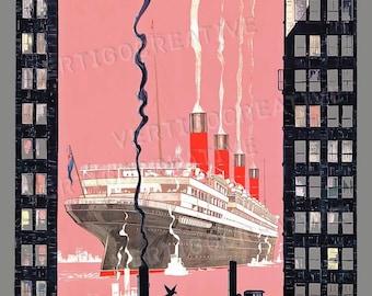 Vintage Cunard Line Poster Print - Pink