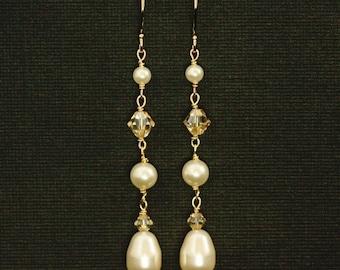 Long Pearl Earrings -- Gold Dangle Bridal Earrings, Swarovski Crystal Pearl Earrings, Pearl Wedding Jewelry, Long Drops -- FALLING IN LOVE