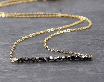 Raw Diamond Necklace• Black Diamond Necklace• Raw Stone Necklace• Mother Gift from Daughter• Aries Gift• April Birthstone Necklace• Best