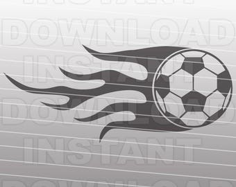 Soccer Ball with Flame SVG File - Soccer Ball SVG File - Vector Clip Art Commercial & Personal Use, Cricut File, Silhouette Cameo,Vinyl Cut