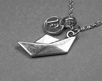 Origami boat necklace, origami boat charm, paper boat necklace, personalized, hand stamped initial, monogram, initial charm, letter necklace