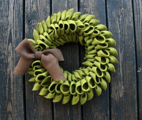 Burlap Wreath, Green Avocado Burlap Wreath