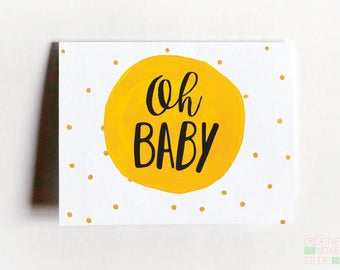 Oh Baby Card - Congratulations Baby Card - Baby Shower - Baby Girl - Baby Boy - Baby - Expecting Card - Baby Shower Thank You - Baby Shower