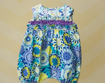 Handmade Blue and Purple Floral Bubble Romper