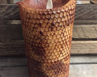"3.5""x 7"" Primitive honeycomb beeswax moving flame flameless TIMER  pillar candle"