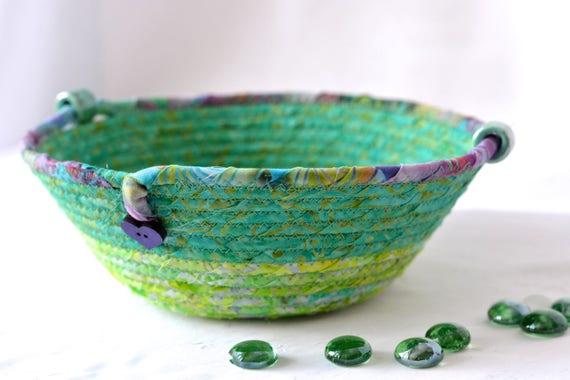 Spring Garden Basket, Artisan Coiled Bowl, Handmade Quilted Batik Basket, Green Catchall Basket, Yarn Bowl, Ring Holder