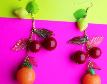 Fruit salad dangle earrings, fruity earrings, charm cherry, red kitsch colourful earring, christmas present gift idea her him women