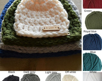 CUSTOM - Hat Choose your own Size and Color. Crocheted Hats Different Sizes Acrylic WAARM