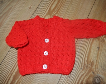 hand knitted baby cardigan / hand knit baby sweater / red cardigan /  newborn sweater