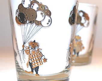 Set of Two Rare Clown Double Old Fashioned Glasses