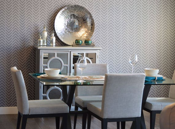 chevron wand schablone geometrische muster schablone. Black Bedroom Furniture Sets. Home Design Ideas