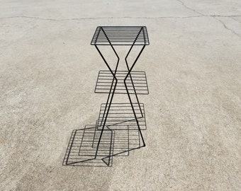 Vintage Black Wire Mid Century Plant Stand Table Shelf