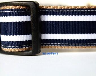 Navy and White Stripe Dog Collar