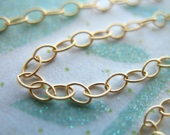 Shop Sale.. 14k Gold Filled Flat Cable Chain by the Foot, Textured Oval Links, 3.5x2.3 mm, Bulk Price Discount, wholesale chain MMGF..MGF7