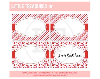 VALENTINE'S - Digital Printable labels - cards - tags - stickers - party food table cards - Instant Download