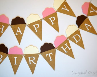 Ice Cream Cone Happy Birthday Banner