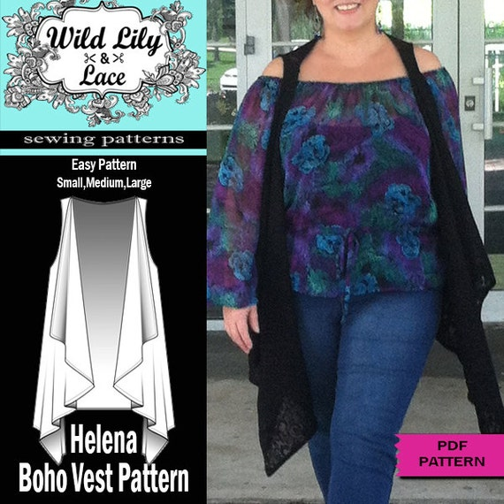 BOHO CHIC ,VEST, Pdf sewing pattern, easy sewing, vest pattern ...