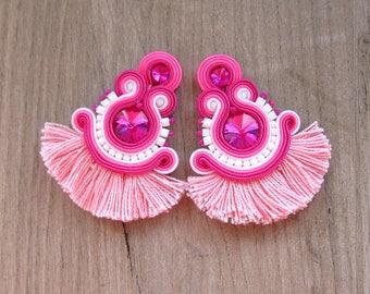 Pink Tassel Earrings, Soutache Earrings, Clip-On Earrings, Pink and hite Earrings, Handmade Soutache Jewelry, Fringe Earrings