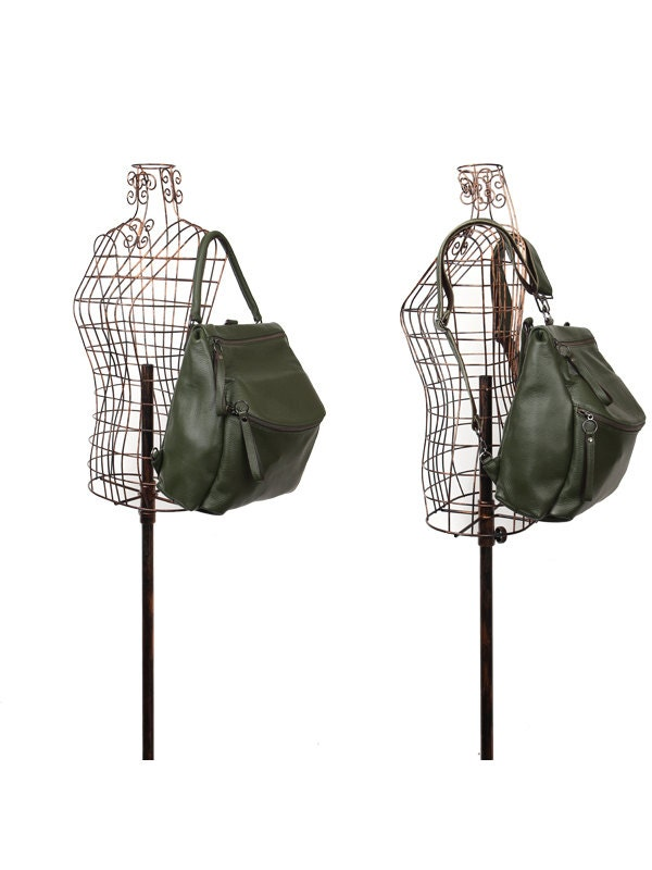 Brand-new Leraje Convertible Backpack Shoulder bag khaki made of LJ43