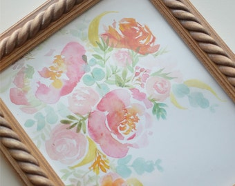 Whimsy Floral Art Print (Watercolor Illustration - Floral Art Print - Art - Home Decor - Wall Art - Farmhouse Decor)