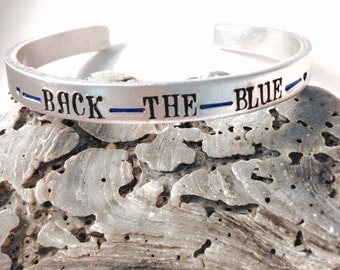 Police jewelry- back the blue-blue lives matter-police family- police mom- police wife-thin blue line- police wife bracelet-police lives