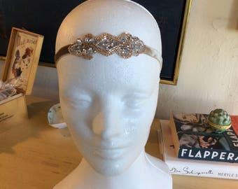 Champagne 1920s Headband, Great Gatsby headpiece, Silver headband, Gray Bronze headband beaded headbands Gatsby dress hair accessory flapper